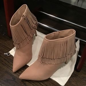 Brian Atwood Tan Suede Ankle Boots with Fringe 9.5
